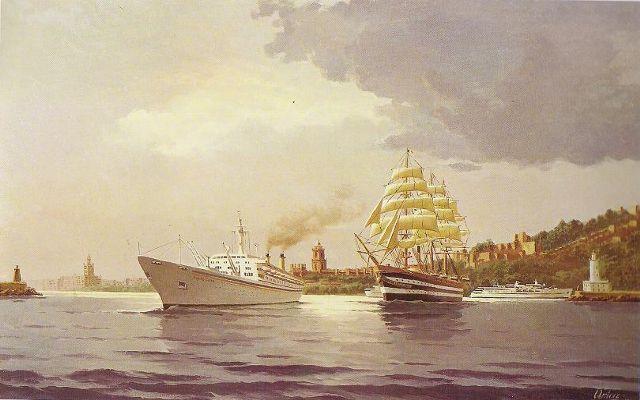Grandes navios en Málaga. 1991. Óleo 65 x 100 cm. Obra de Esteban Arriaga