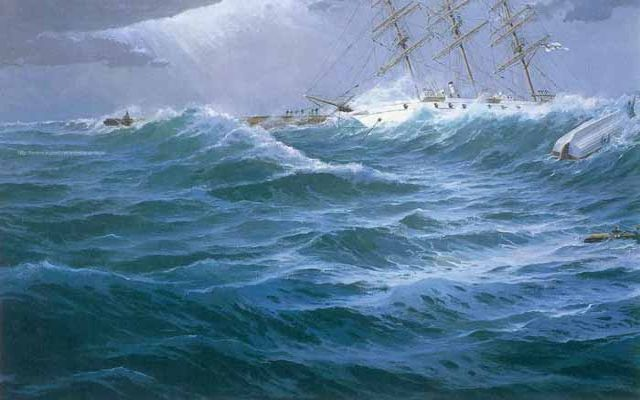 Tragedia del gran velero alemán Gneisenau. Óleo 162 x 97 cm. Obra de Esteban Arriaga