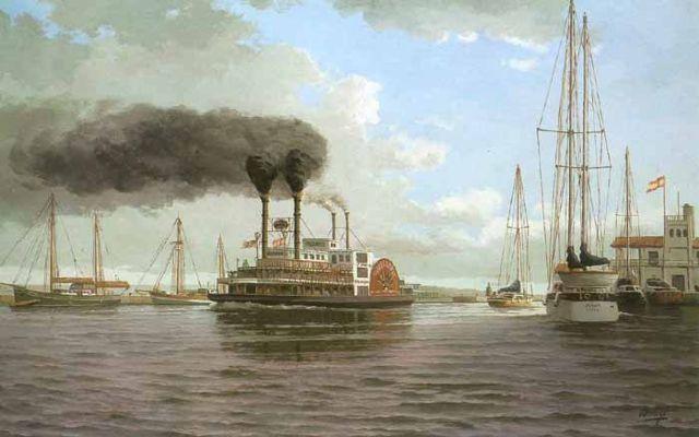 El Mississippi Willow en el puerto deportivo de Benalmadena. Óleo sobre lienzo 116 x 73 cm. Colección Ayuntamiento de Benalmadena. Obra de Esteban Arriaga