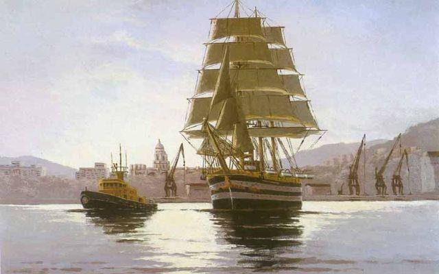 Amerigo Vespucci en Málaga. Óleo sobre lienzo 65 x 54 cm. Obra de Esteban Arriaga