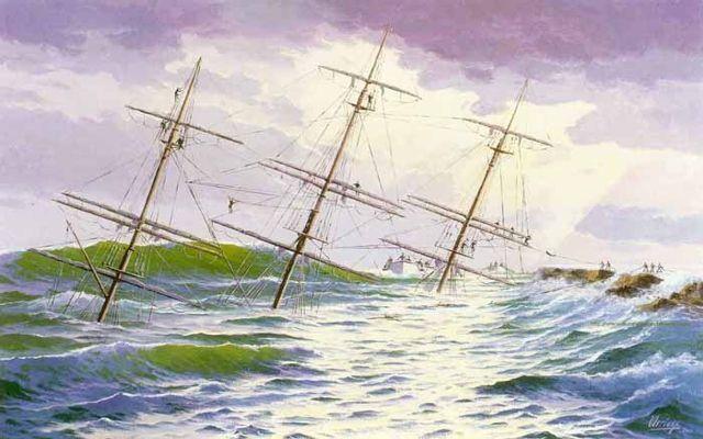 Málaga socorre a los náufragos del Gneisenau. Óleo sobre lienzo 116 x 73 cm. Obra de Esteban Arriaga