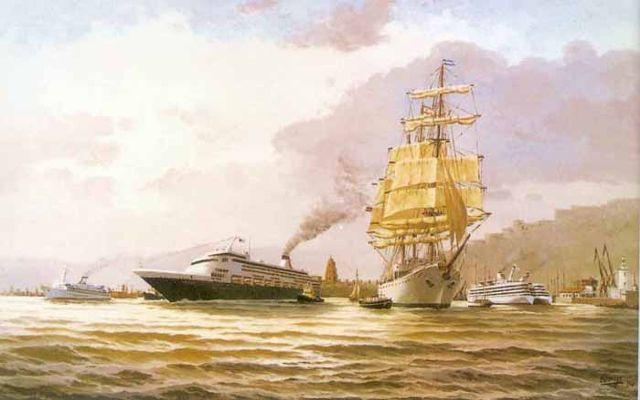 Grandes navíos en el puerto de Málaga, el Maasdam y el Libertad. Óleo sobre lienzo 116 x 73 cm. Obra de Esteban Arriaga